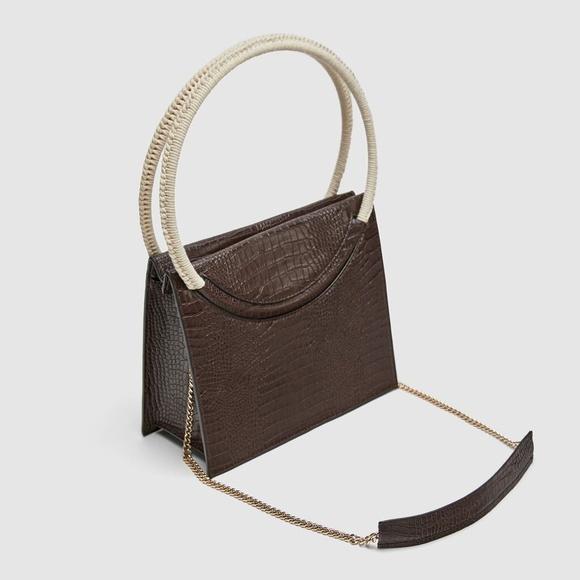Zara Handbags - NWT Embossed Faux Leather City Satchel